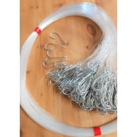 Forsyn for medium torsk og blåkveite Krok type 33975 12/0 med 0.90mm forsyn 1 meter Pakke med 100
